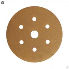 Шлифовальный круг GOLD B312T 150мм на липучке, 7 отв, золотистый