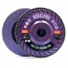 RoxelPro Лепестковый круг ROXPRO FAST CUT 125 х 22мм, Trimmable, керамика, конический