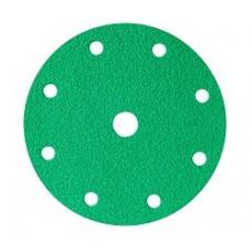 Шлифовальный круг FILM L312T 150мм на липучке, 9 отв, зелёный