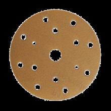 Шлифовальный круг GOLD B312T 150мм на липучке, 15 отв, золотистый