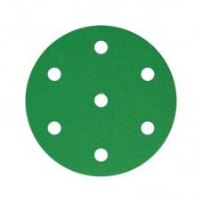 Шлифовальный круг FILM L312T+ 150мм на липучке, 7 отв, зелёный