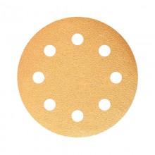 Шлифовальный круг GOLD B312T 125мм на липучке, 8 отв, золотистый