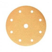 Шлифовальный круг GOLD B312T 150мм на липучке, 9 отв, золотистый